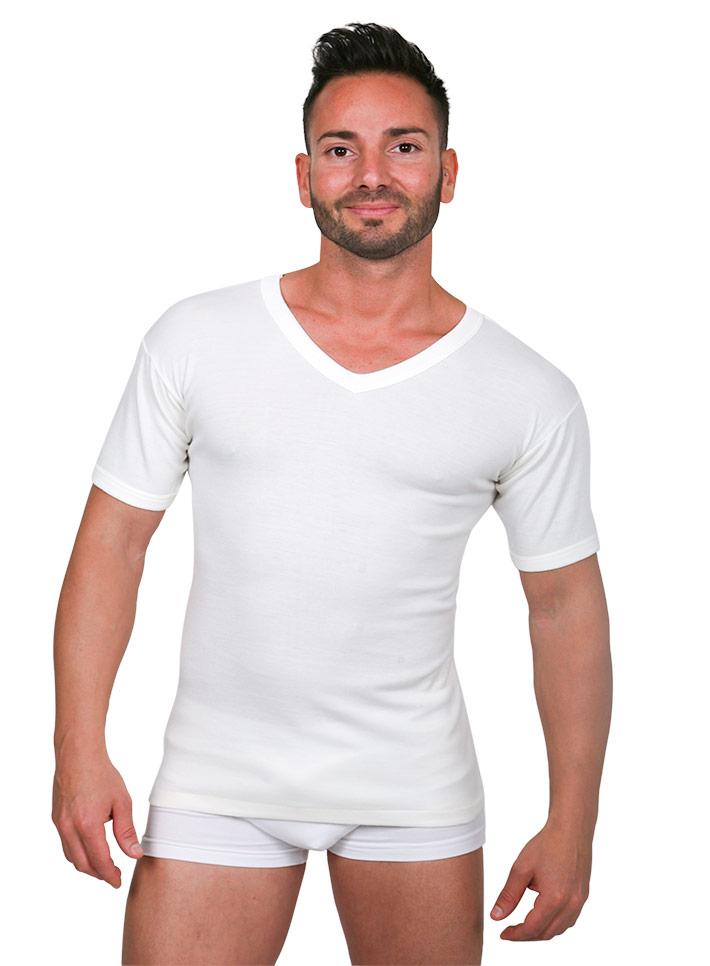 Maglietta intima uomo lana cotone scollo V - art. 380