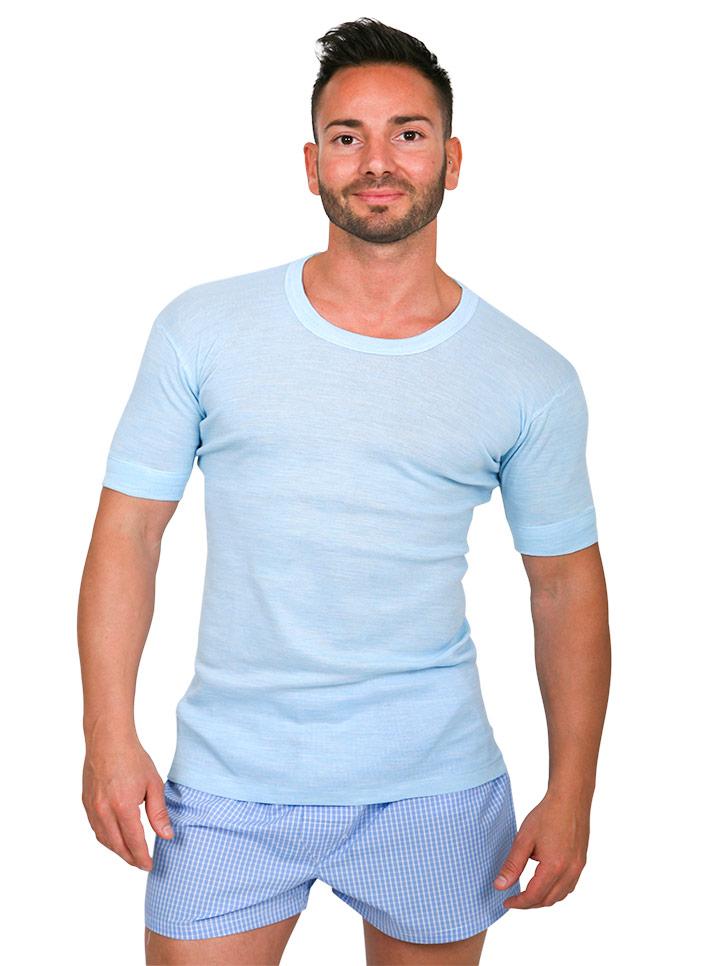 Maglietta intima uomo misto lana - art. MS 720 azzurro